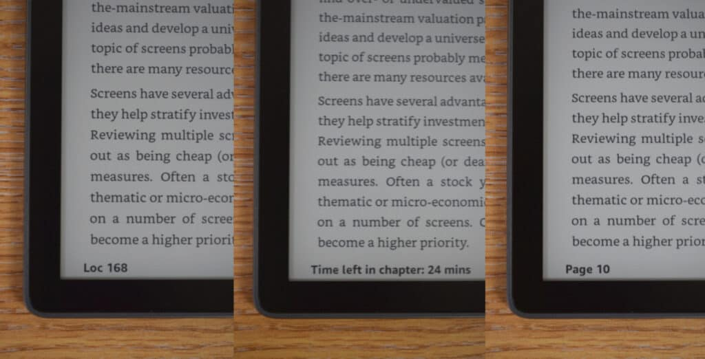 how to show pages numbers on kindle